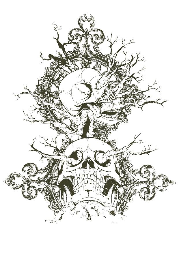 Skull Artistic Shirt Design #332